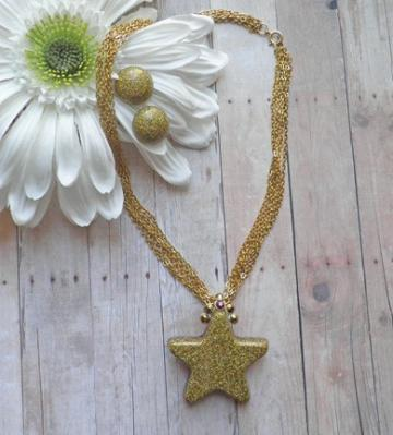 Golden AB glitter star necklace and earrings with multi-strand chain N59
