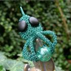 Wire crochet deepwater octopus pendant with lampwork - Hanging on Hank