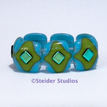 Designer Art Glass Bracelet, Mediterranean Ocean Blue with Lime Green and Greenish Gold Metallic Accents