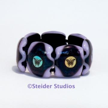 Designer Chunky Art Glass Bracelet, Lavender with MultiColor Butterflies on Dark Iridescent Frame