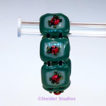 Unique Designer Art Glass Bracelet 3D Ladybugs on Double Green