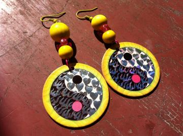 Yin Yang Yellow POG Earrings - with wooden beads
