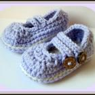 Crochet baby booties Mary Janes in orchid and ivory