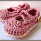Crochet Cotton Baby Booties Mary Janes in Rosey and Ivory