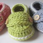 Crochet Baby Booties Wool Little Button Loafers- Size 0 thru 12 months You Choose Size and Colors