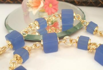 Deep blue glass square beads gold color wire linked handmade necklace