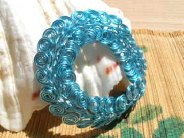 Egyptian swirl light blue silver copper wire bracelet