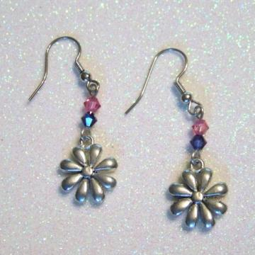 Flower earrings with rose and violet swarovski crystals