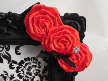 Satin Rose Baby Headband - Stretch