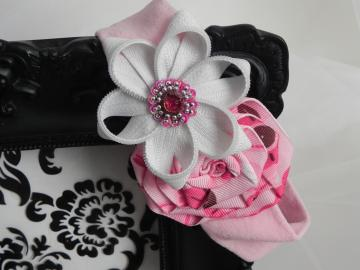 Zipper/Rose Flower Baby Stretch Headband