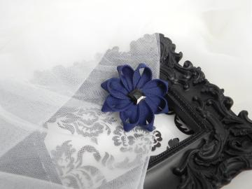 Deep Blue Zipper Flower Clip