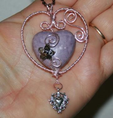 Valentine Wire Wrapped Heart Pendant with pink ribbon