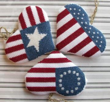 Star Spangled Stitching - Set of 3 Patriotic Heart Ornaments