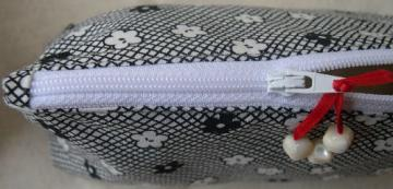 Black and White Zipper Pouch Cosmetic Bag