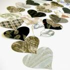 Packet of 50 Vintage Wall Paper Heart Punches in Greens