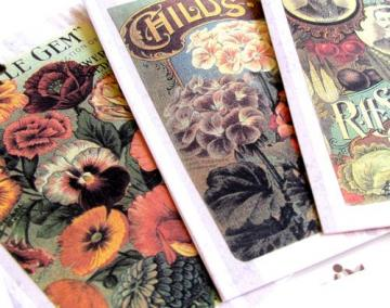 Set of 3 Gift or Journal Tags with Vintage Garden Seed Pack