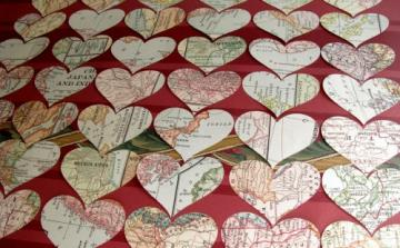 Vintage Map Heart Punches - 100 Piece Packet