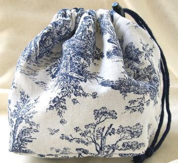 Pouch Purse Project Bag Hand Crafted in Midnight Blue French Toile