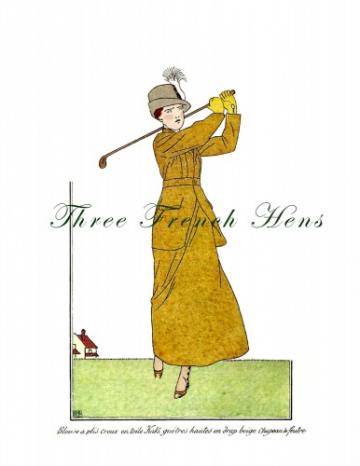 La Belle Epoque Golfer - A Stationery Set of 5 Fashion Note Flats