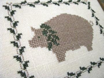 Country Pig Ivy Barn Wood Cross Stitch Framed Ready To Hang