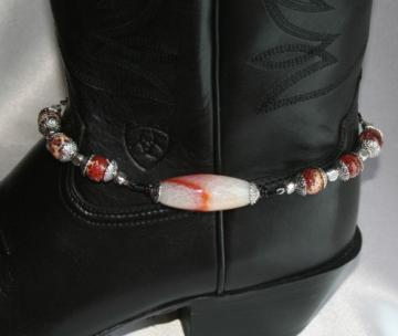 Fire Crab Agate & Tibetan Silver Beaded Boot Bling Anklet Bracelet