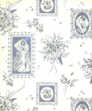Bridal Wedding Silver Bouquet Wrapping Paper Vintage 60s Gift Wrap
