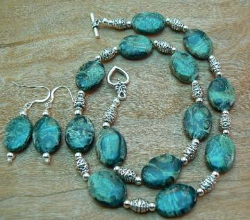 Kambaba Jasper and Bali silver Necklace and Earrings