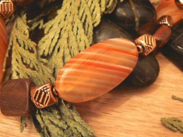 Orange natural agate with wood squares and copper bead necklace 22 inches