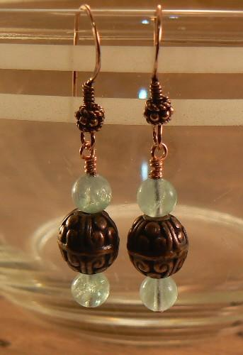 Antiqued Copper Bali Beads and Green Fluorite earrings