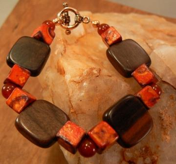 Carnelian round beads with square wood beads bracelet