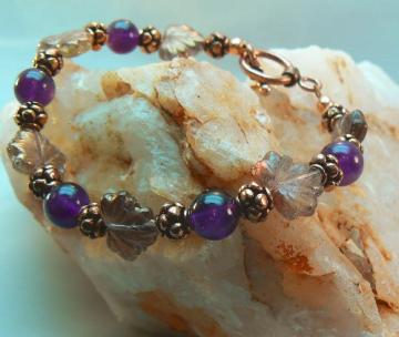 Amethyst and  Bali Copper beads with Glass leaves bracelet