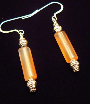 Carnelian and silver bali beads earrings on sterling french hooks