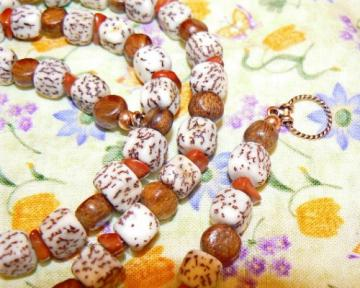 Wood cube, salwag seed and red jasper necklace 29 inches