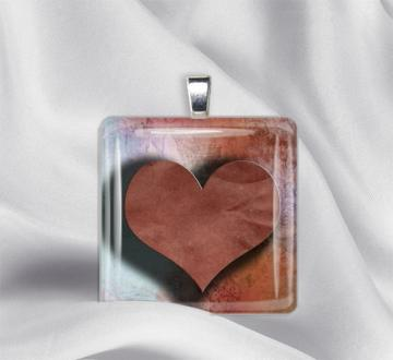 Rustic Heart Glass Tile Pendant Necklace
