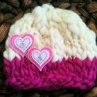 Newborn Woolly Beanie -Raspberry &amp; Cream Love Hearts