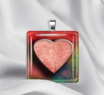 Heart's Delight Glass Tile Pendant Necklace