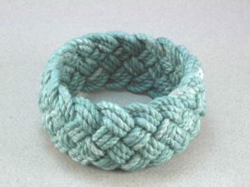 teal blue cotton turks head knot sailor bracelet 1563