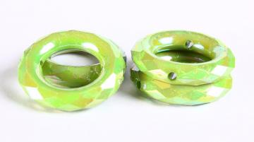 Rondelle beads 35mm 4pc Green lime AB finish faceted rondelle round acrylic resin beads (348)
