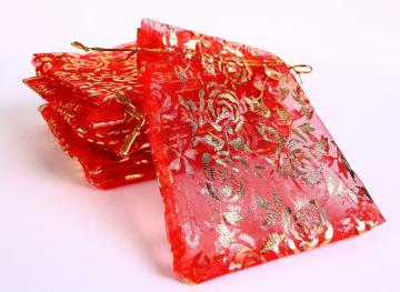Red and gold organza gift bag 10pc (172)