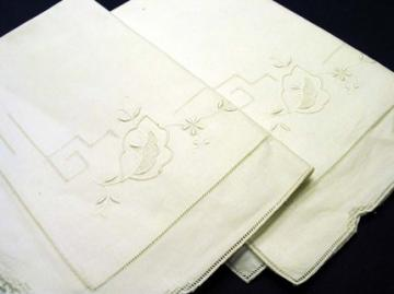 Gorgeous Vintage Embroidered White on White Pillow Cases Set of 2 PC 115