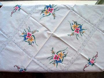 Antique Cross Stitched Panels Linen Tablecloth TC-152