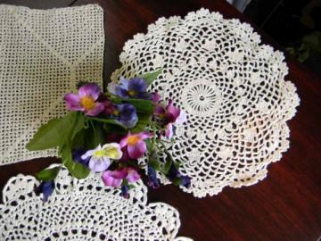 3 Assorted Vintage Crocheted Doilies 3504