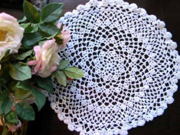 Lacy Crocheted Doily in White with Scallopy Edges 5075