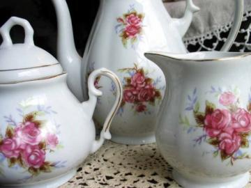 Vintage Teapot Coffee Pot Set White China Roses Item 1704
