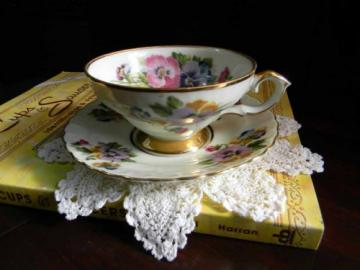 Hand Painted Pansies on Wide Mouthed Teacup Tea Cup and Saucer 2624