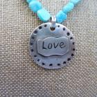 Beautiful Larimar Necklace with OOAK Artisan Fine Silver LOVE Pendant