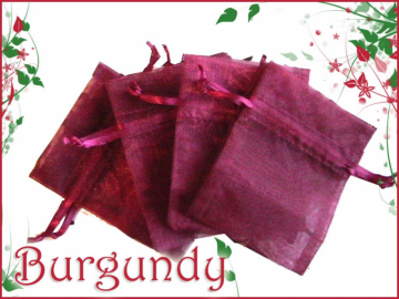 30 Sheer Wine 3x4 Organza Bags with Drawstrings- G