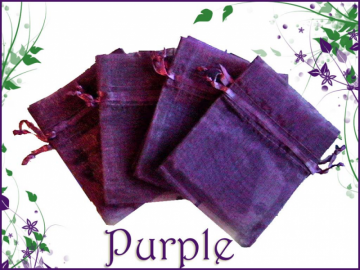 30 Sheer Purple 3x4 Organza Bags with Drawstrings-