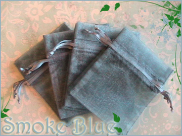30 Sheer Smoke Blue 3x4 Organza Bags with Drawstri