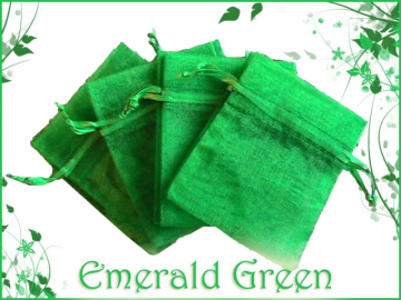 30 3x4 Sheer Emerald Green Organza Drawstring Bags